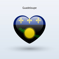 Love Guadeloupe symbol. Heart flag icon.