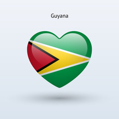 Love Guyana symbol. Heart flag icon.