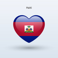Love Haiti symbol. Heart flag icon.