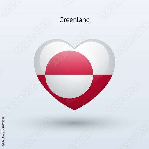 Love Greenland symbol. Heart flag icon.