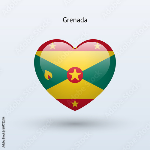 Love Grenada symbol. Heart flag icon.