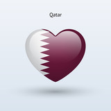 Love Qatar symbol. Heart flag icon.