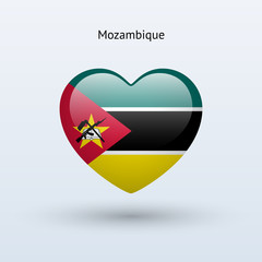 Love Mozambique symbol. Heart flag icon.