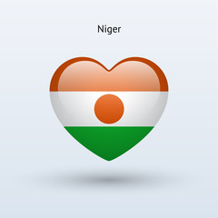 Love Niger symbol. Heart flag icon.