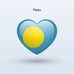 Love Palau symbol. Heart flag icon.