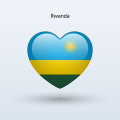 Love Rwanda symbol. Heart flag icon.
