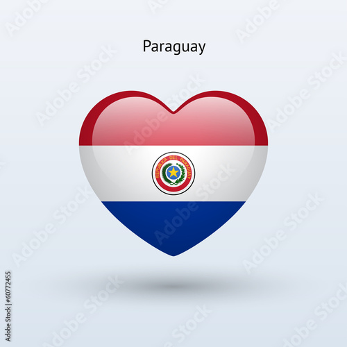 Love Paraguay symbol. Heart flag icon.