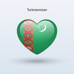Love Turkmenistan symbol. Heart flag icon.