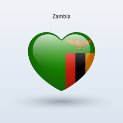 Love Zambia symbol. Heart flag icon.