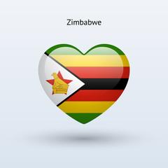 Love Zimbabwe symbol. Heart flag icon.