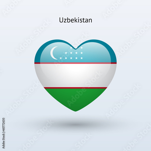 Love Uzbekistan symbol. Heart flag icon.