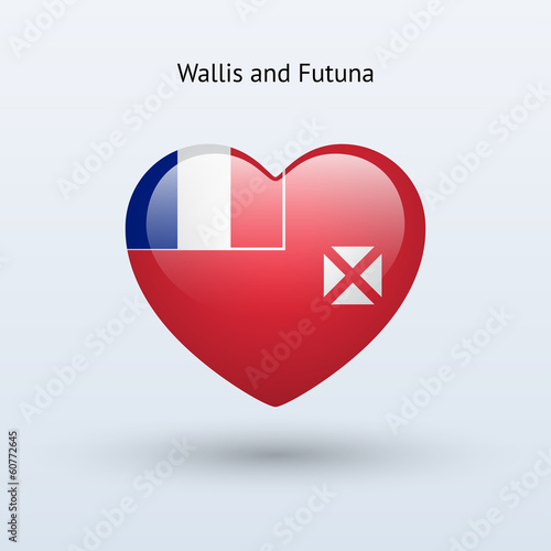 Love Wallis and Futuna symbol. Heart flag icon.