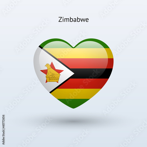 Love Zimbabwe symbol. Heart flag icon.