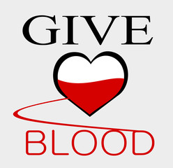 give blood graphic design with heart