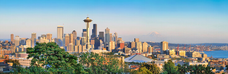 Seattle skyline panorama at sunset, Washington, USA