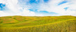 Panoramic view of rolling hills in Val d'Orcia, Tuscany, Italy