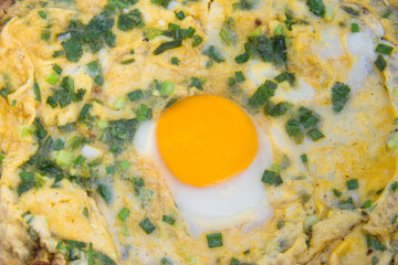 Omelet  fried eggs with chives in a close up view