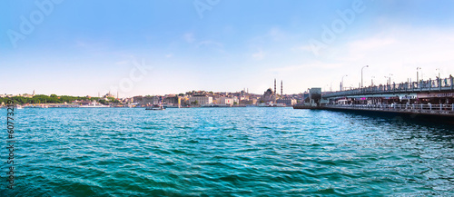 Bosporus with Golden Horn and Galata bridge, Istanbul, Turkey