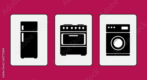 Household appliances - fridge, stove, washing machine. Vector.