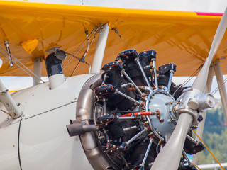 Closeup Detail of a Propeller Aircraft's Prop and Engine