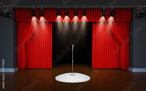 vintage microphone on Theater stage with curtains
