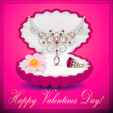 of a postcard on Valentines day with a necklace ring flower and
