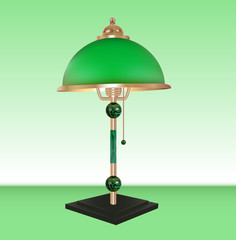 Vector table lamp bronze glass green shade