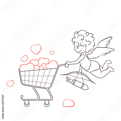 Cupid and Cart full of Hearts