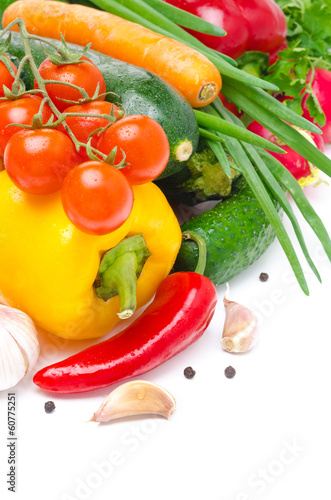 Assorted fresh seasonal vegetables isolated with space for text