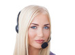 beautiful girl call center operator on the isolated