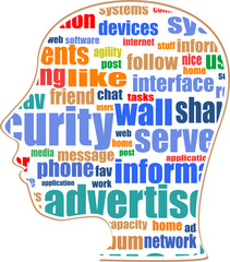 head silhouette with the words on the topic of social networking