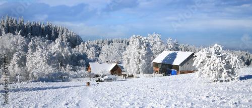 Foto op Plexiglas New York TAXI Picturesque village Pasterka landscape in white winter. Poland