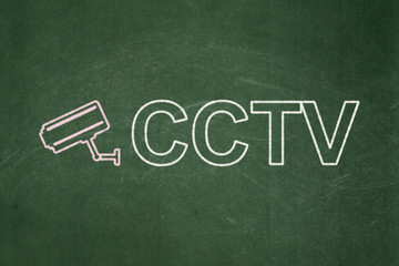 Security concept: Cctv Camera and CCTV on chalkboard background