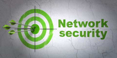 Protection concept: target and Network Security on wall
