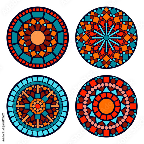 Colorful circle floral ethnic mandalas set in blue red orange
