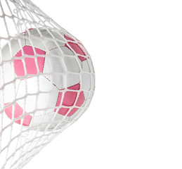 Goal--Pink Soccer Ball in Net With Copy Space