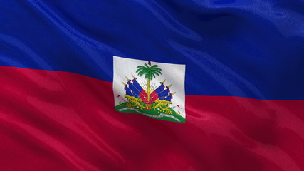Flag of Haiti waving in the wind - seamless loop