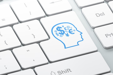 Marketing concept: Head With Finance Symbol on computer keyboard