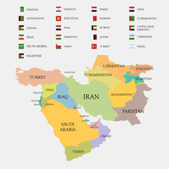 Middle East map and flags vector illustration