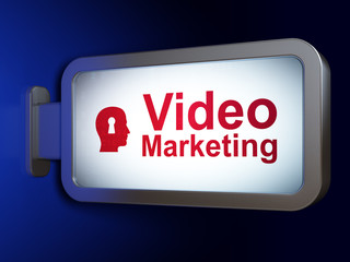 Business concept: Video Marketing and Head With Keyhole on