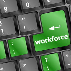 Workforce key on keyboard - business concept