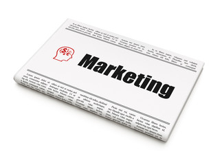 Marketing concept: newspaper with Marketing and Head With