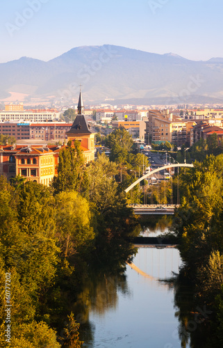 Pamplona with bridge over Arga river