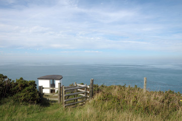 Gate on coastal path above Cardigan Bay