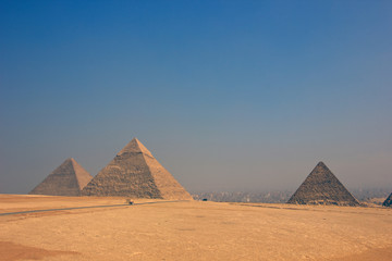Vintage color images of Giza pyramids in Egypt,three pyramids