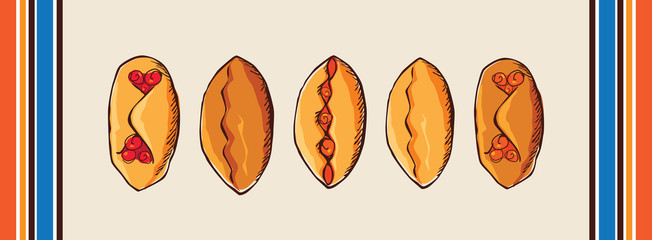 pies on a napkin vector illustration