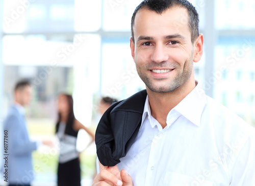 confident young businessman, smiling happy