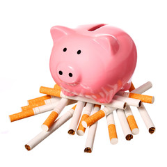 Piggy Bank on pile of Cigarettes isolated on white. Concept