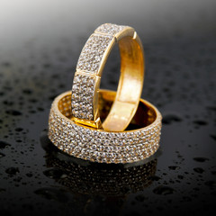 Golden jewelry rings