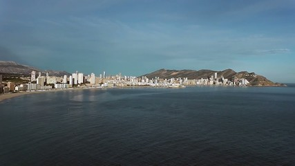 Benidorm town cityscape sea and mountains